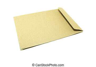 Brown envelope on a white background