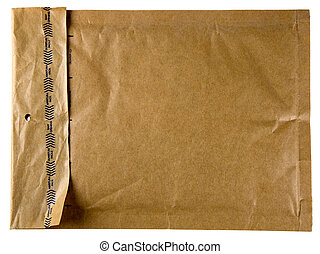 Brown envelope - A self-sealing brown envelope isolated on...
