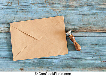brown envelope with a stamp