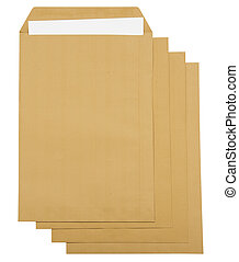 Brown envelope with white paper inside it