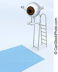 brown eye ball with arms and legs on trampoline dip in the pool