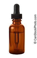 Brown Eye Dropper Bottle Isolated with clipping path on a...