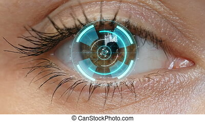 Brown eye girl with futuristic software interface.