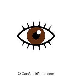 brown eye with eyelashes icon