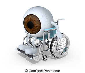 brown eyeball with arms and legs on a wheelchair