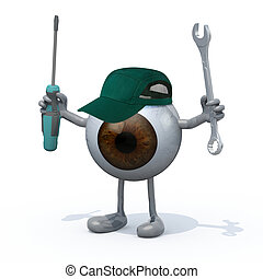 brown eyeball with arms, legs and tools on hands