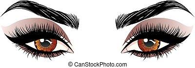 Brown eyes make up - Fashion female brown eyes with ...