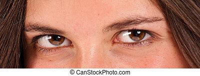 Brown eyes - Beautiful female brown eyes looking at the...