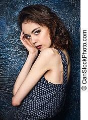 brown eyes - Summer style. Beautiful fashion model posing in...