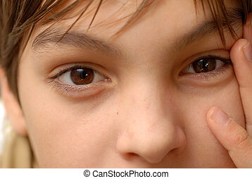 Brown eyes - caucasian boy portrait, beautiful brown eyes...