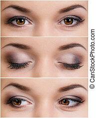 Brown eyes - Set of brown eyes - beautiful young woman