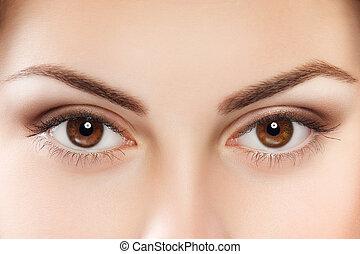 Brown eyes - Close up image of female brown eyes