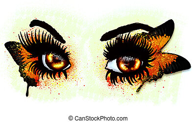 Brown eyes with butterfly - Fantasy eyes of orange and brown...