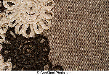 Brown fabric with flower edge