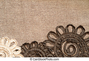 Brown fabric with flowers