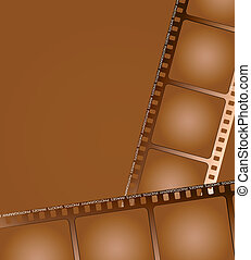 brown film outline 2 - two pieces of aged brown film layed...