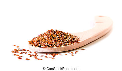 Brown flax seeds in wooden spoon on a white background