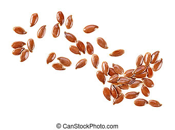 Brown flax seeds isolated on a white background. Common Flax...