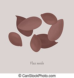 Brown flax seeds, linseed healthy organic food. Healthy seeds, oilseed on a gray background and logo.