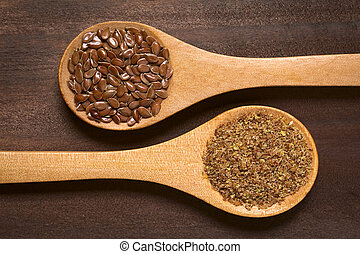 Brown Flax Seeds or Linseeds - Whole and ground brown flax ...
