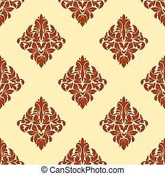 Brown floral damask seamless pattern