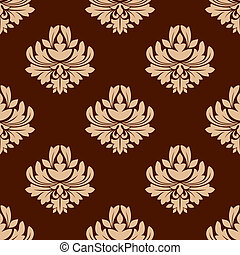 Brown floral seamless pattern