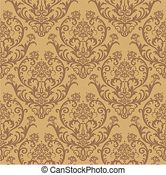 Brown floral wallpaper - Seamless brown floral damask...