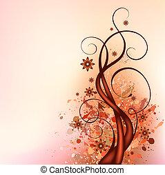 brown flourish illustration in square composition