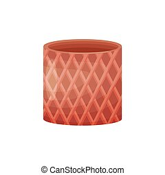 Brown flower pot in the shape of a cylinder. Vector illustration