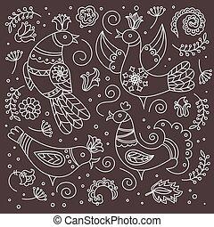 BROWN FOLK BIRD Oriental Doodle Decor Vector Illustration Set