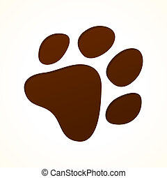 Illustration of puppy footprint in brown color on bright background