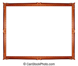 brown frame isolated on white background, clipping path