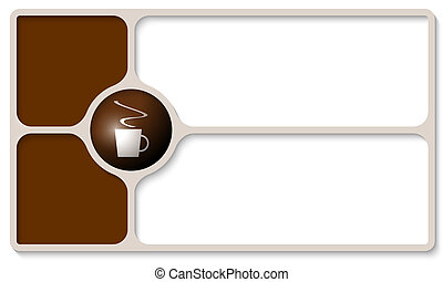 brown frames for any text with cup of coffee