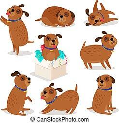 Brown funny cartoon puppies