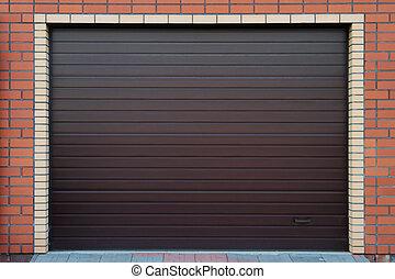 Brown garage gate.