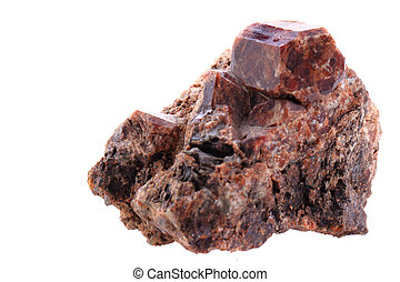 brown garnet mineral isolated on the white background