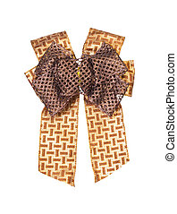 Brown gift bow isolated