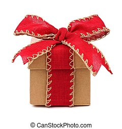 Brown gift box with red bow and ribbon isolated on white