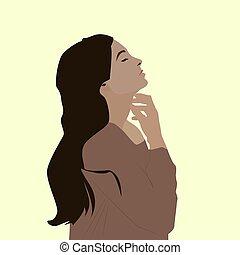 Brown girl, illustration, vector on white background.