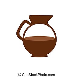 brown glass jar of coffee with handle