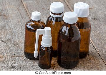 Brown glass medical bottles