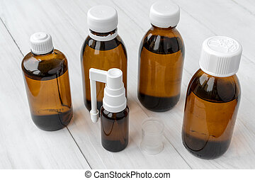 Brown glass small medical bottles