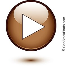 Brown glossy play button