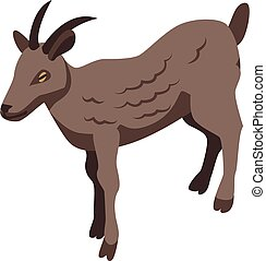 Brown goat icon, isometric style