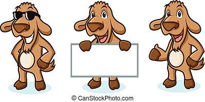 Brown Goat Mascot happy