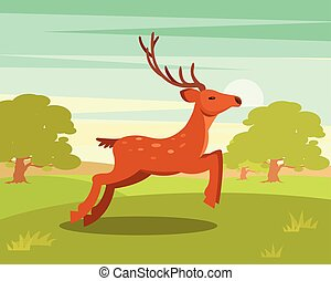 Brown graceful deer with antlers, wild animal amongst a...