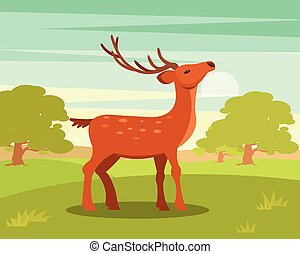 Brown graceful spotted deer with branched horns,, wild...