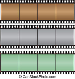 Brown, gray, green with hi-light film strip vector illustration