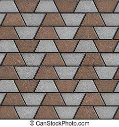 brown-gray, trapezoids., pavimentar, forma, losas