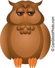 Brown Great Horned Owl Illustration